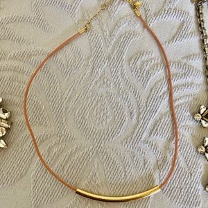 J Crew coral leather and gold necklace